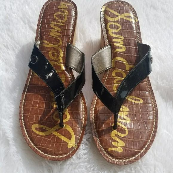 77ae04e83 Sam Edelman Black Wedge Sandals 9.5M US 9 1 2